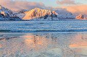 pic of lofoten  - Sunrise in Haukland and beach in Lofoten - JPG