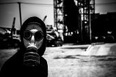 picture of respiration  - Monochromic portrait of man in respirator looking at the camera - JPG