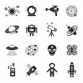 image of spaceman  - Fiction icons black set with spaceman spaceship and flying saucer isolated vector illustration - JPG