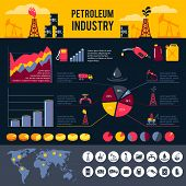 stock photo of petroleum  - Petroleum industry infographics set with gasoline processing symbols and charts vector illustration - JPG