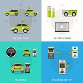picture of electric station  - Electric car design concept set with battery power charging station flat icons isolated vector illustration - JPG