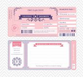 stock photo of boarding pass  - Boarding Pass Ticket Wedding Invitation card Template - JPG