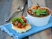 stock photo of stew  - vegetable stew of eggplant and tomatoes - JPG