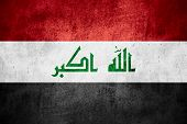 foto of iraq  - flag of Iraq or Iraqi banner on rough pattern texture background - JPG