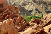 foto of jammu kashmir  - Ancient ruins at Basgo Monastery Leh ladakh landscape Jammu and Kashmir India - JPG