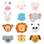 stock photo of cute animal face  - Vector collection of cute little animal faces - JPG