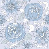 pic of blue rose  - Illustration of a beautiful elegant floral pattern in pastel colors with a high degree of detail - JPG