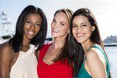 stock photo of marina  - Three women posing in marina harbor - JPG