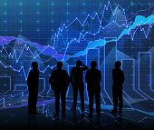 picture of siluet  - An abstract Forex graph room in blue with people siluet - JPG