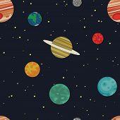 stock photo of earth mars jupiter saturn uranus  - Pattern depicting different planets in space - JPG