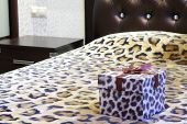 picture of leopard  - Gift box with a leopard pattern on the bed with leopard bedspread - JPG