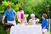 stock photo of bbq party  - Grill barbecue backyard party - JPG