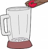 pic of blender  - Hand drawn cartoon blender with hand holding tomato - JPG