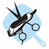 Barber Scissor, Clippers & Mirror