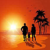 pic of children walking  - Parents and child walking on the beach at bunset - JPG