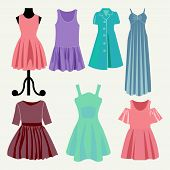 stock photo of boutique  - Vector Fashion beautiful clothes collection women - JPG
