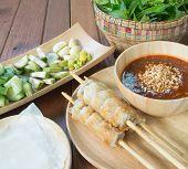 stock photo of sate  - Vietnamese Pork Sausage - JPG