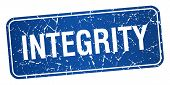 stock photo of integrity  - integrity blue square grunge textured isolated stamp - JPG