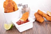 foto of fried chicken  - fried chicken and ketchup - JPG