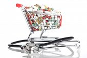 Isolated shopping cart full with pills and capsules