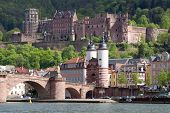City of Heidelberg (Germany) - view over the old town of Heidelberg including the castle and the old