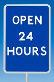 Open 24 Hours Road Sign