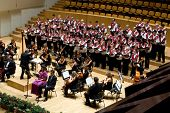 VALENCIA, SPAIN - DECEMBER 4: The choir of the University Catolica de Valencia performs at the Palau