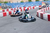 VALENCIA, SPAIN - JUNE 27: Fans participate in go-karting at the Formula 1 racing Valencia Street Circuit Beach Park on June 27, 2010 in Valencia Port, Spain