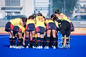 VALENCIA, SPAIN - JULY 27: Spain's National Women's Field Hockey Team takes a huddle just before playing the USA National Women's Team on July 27, 2010 in Valencia, Spain.