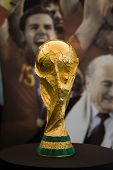 VALENCIA, SPAIN - SEPT 27: The World Cup Trophy, won by Spain in South Africa in July 2010, is on pu