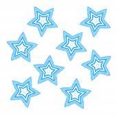 Blue Grunge Stars On White