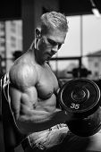 Handsome Power Athletic Man On Diet Training Pumping Up Muscles poster