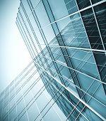 Постер, плакат: вид в перспективе небоскреб современный голубой стекло