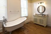 picture of wainscoting  - elegant bathroom with clawfoot tub - JPG