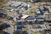 aerial view of shopping center on marine base at parris island