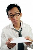 Worker hand over resignation letter
