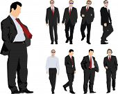 Group of nine powerful businessmen. Colour vector silhouette