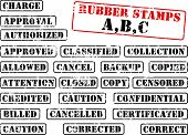 Collection of rubber stamps with words beginning with letter A, B, C. See other rubber stamp collect