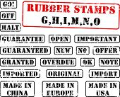 Collection of rubber stamps with words beginning with letter G, H, I, M, N, O. See other rubber stam