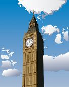 Illustration of Big Ben, one of the most popular landmark in London, Great Britain. poster