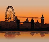 Illustration of London skyline at sunset with reflection on the Thames