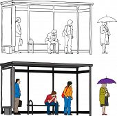 stock photo of bus-shelter  - Vector sketch of bus stop with blank billboard and people waiting - JPG