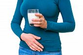 Woman With Lactose Problem Is Suffering From Stomach Pain poster