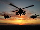 picture of military helicopter  - Silhouette of helicopter over sunset 3d illustration montage - JPG