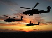 Silhouette Of Helicopters