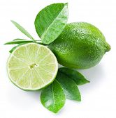 Ripe lime fruit with a half of lime on the white background. poster