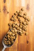 Dry kibble dog food in metalscoop on wooden table. Top view. poster