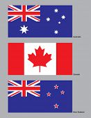 The flags of Australia, Canada and New Zealand drawn in CMYK and placed on individual layers.