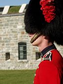 A member of the Canadian Royal 22nd Regiment stands guard at the gates to the Citadel in Old Quebec