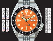 Stainless steel diver's watch in CMYK on separate layers. Time, day (in English, Spanish, French, an